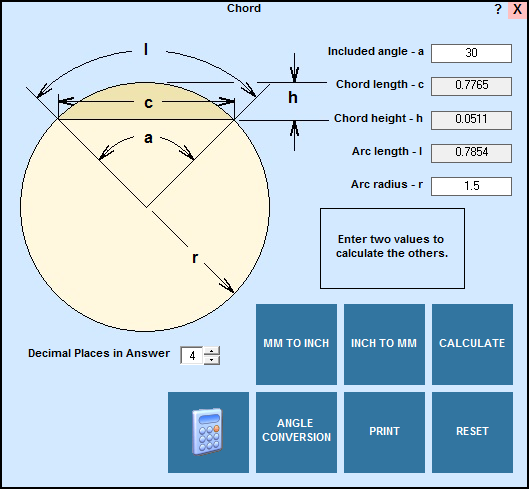 Chord geometry and circular segment calculator in EditCNC