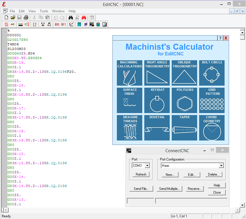 EditCNC, g-code editor with syntax colouring and many features for the CNC programmer!