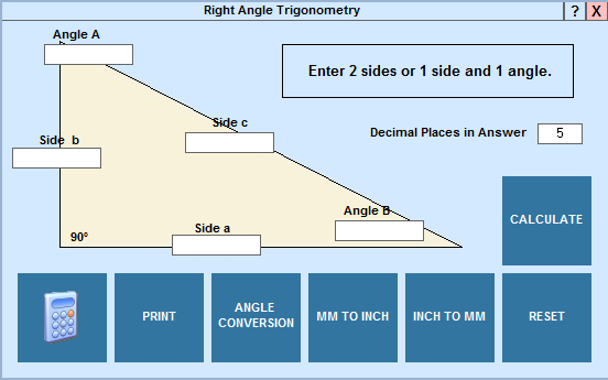 Solve right angle trigonometry problems in EditCNC